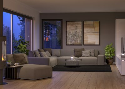 Romslig stue med store vindusflater gir deg naturen inn i stuen og godt lys.