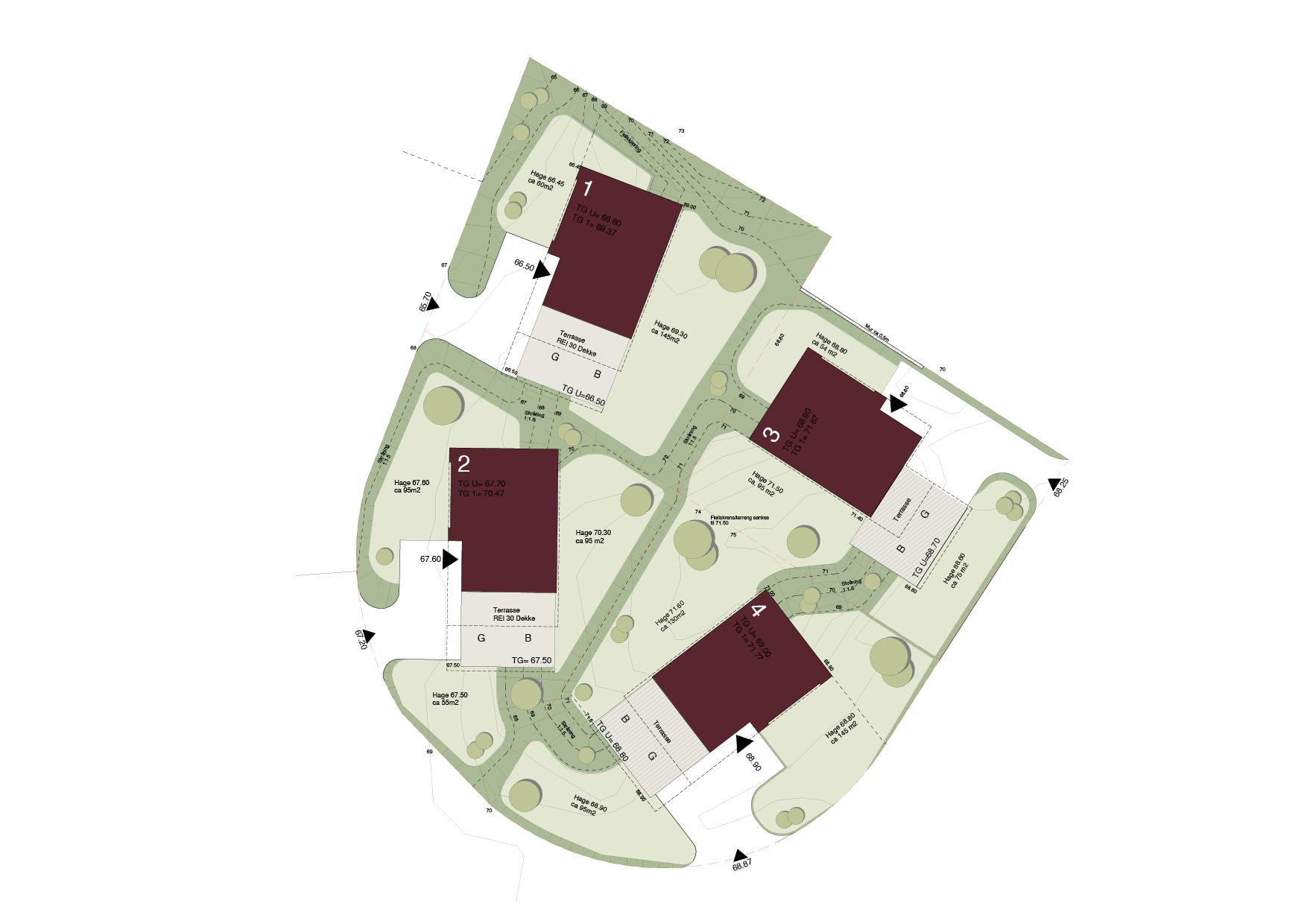 Tomtekart - Her kommer de 4 første boligene